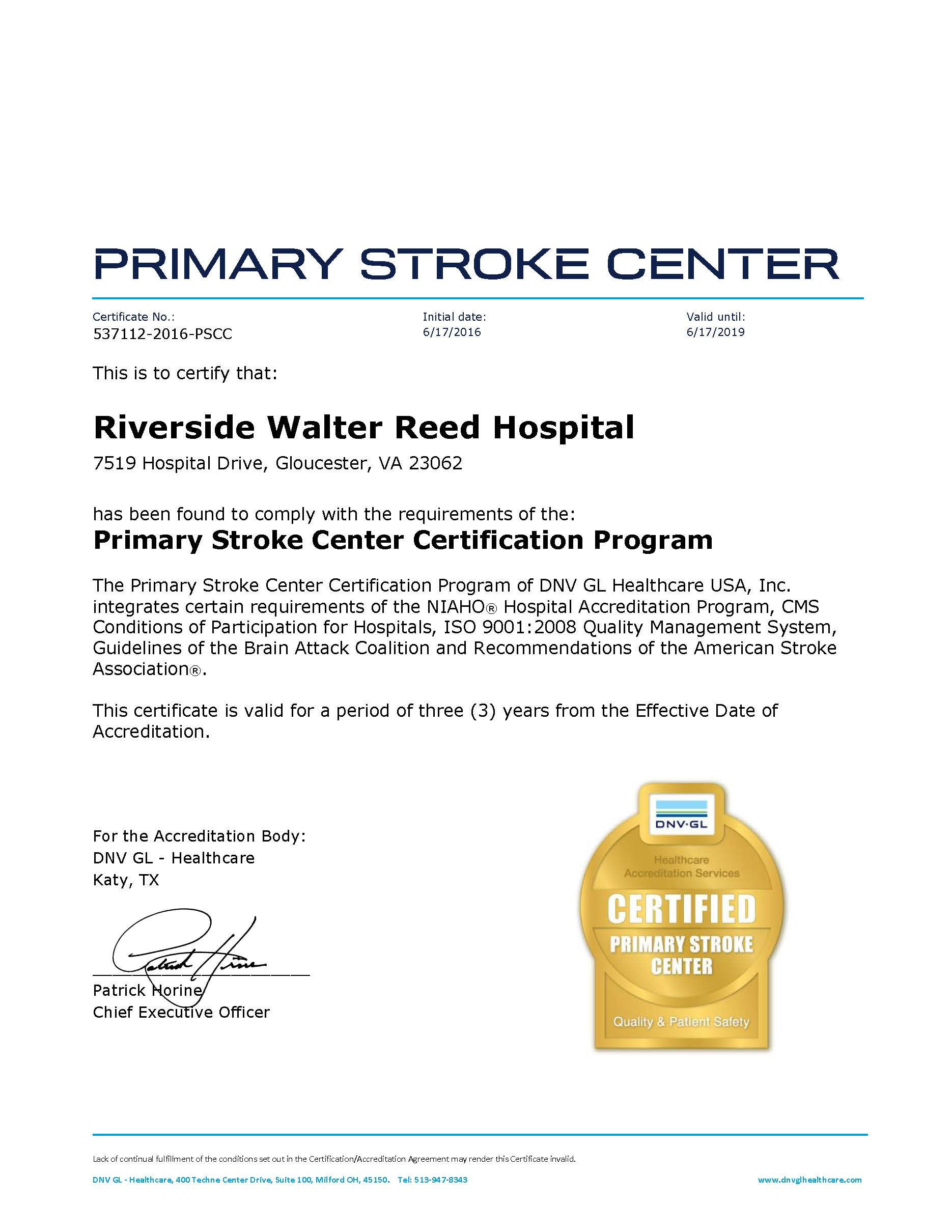 2016 Riverside Walter Reed Hospital PSCC Certificate Page 1