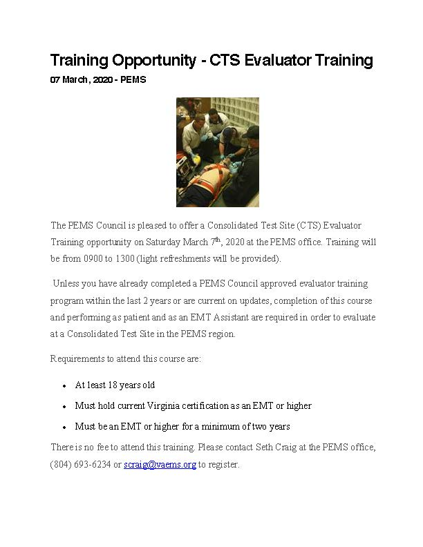 Training Opportunity CTS Evaluator 3 07 20